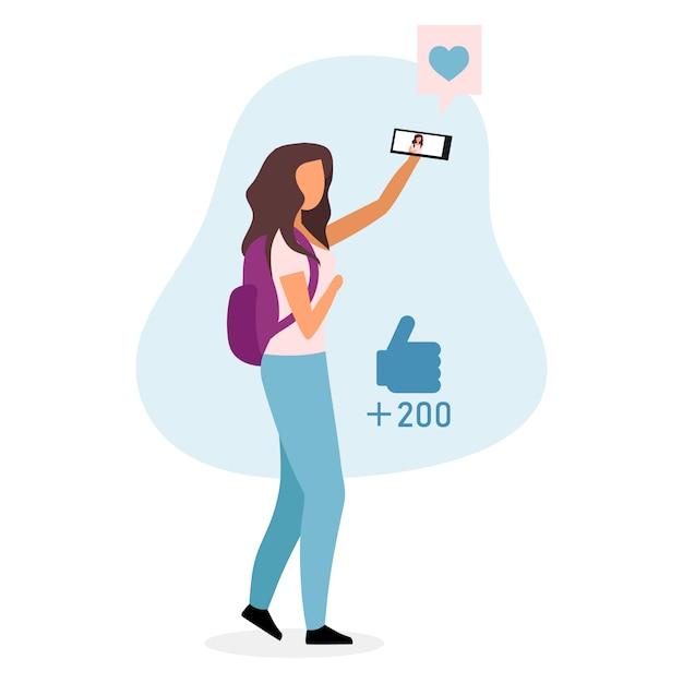 Стильная школьница, принимая селфи плоской иллюстрации. современный подростковый видео блоггер, персонаж мультфильма vlogger, изолированные на белом фоне. девушка с рюкзаком и смартфон идет в школу Premium векторы