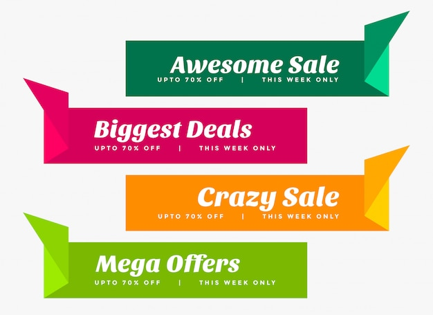 Stylish set of sale banners in origami style Free Vector