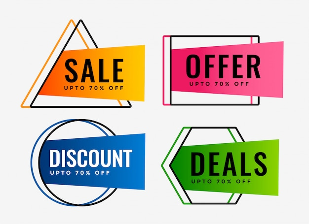 Stylish set of sale offers and deals labels Free Vector