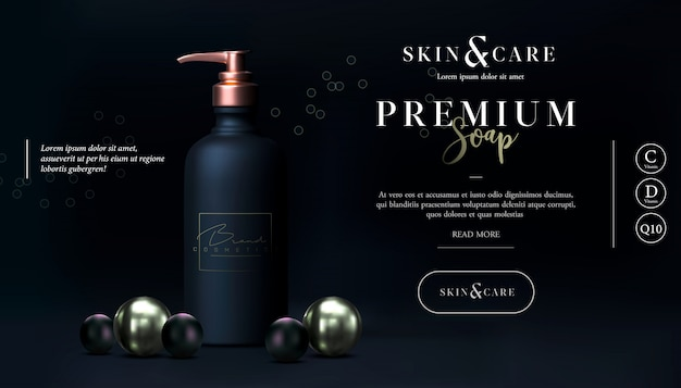 Stylish skin care cosmetics body lotion. soap promo design. washing gel or cleancer in black gold bottle with pump. liquid soap packaging poster, flyer, or web banner. mock-up promo black banner. Premium Vector