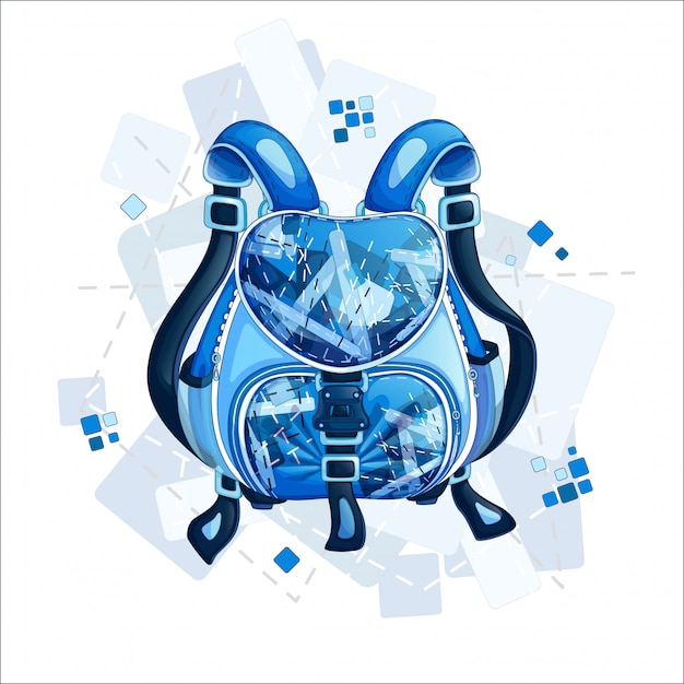 Stylish sporty blue backpack with a geometric design. Premium Vector