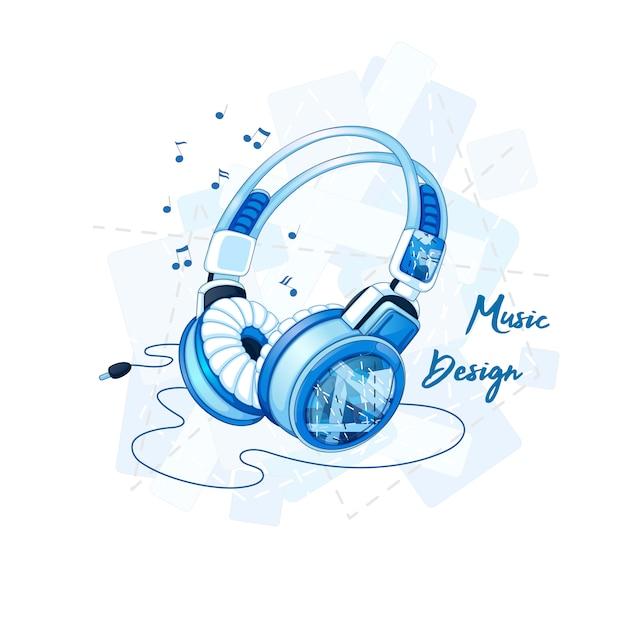 Stylish stereo headphones with a trendy geometric pattern. Premium Vector
