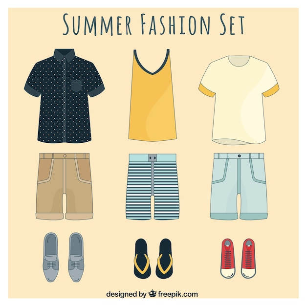 Stylish summer fashion set for men Free Vector