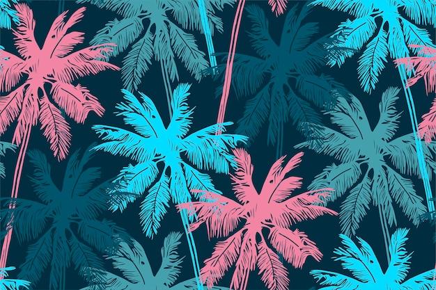 Стильный летний бесшовный образец с пальмами Premium векторы