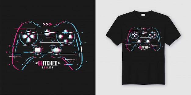 Stylish t-shirt and apparel trendy  with glitchy gamepad Premium Vector