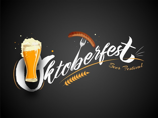 Stylish text oktoberfest beer festival with wine glass Premium Vector