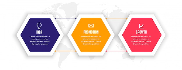 Stylish three options hexagonal infographic template Free Vector