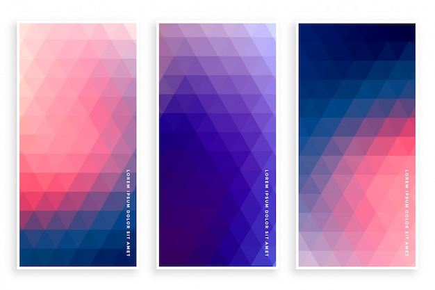 Stylish triangle pattern banner set of three Free Vector
