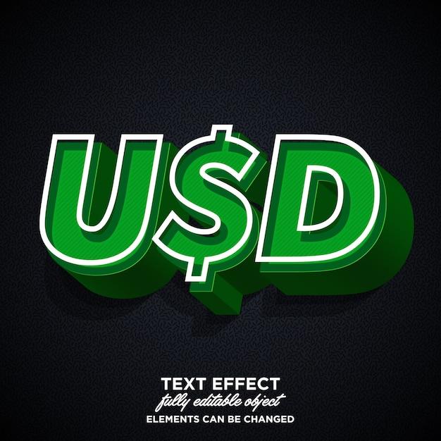 Stylish usd sticker font effect Premium Vector