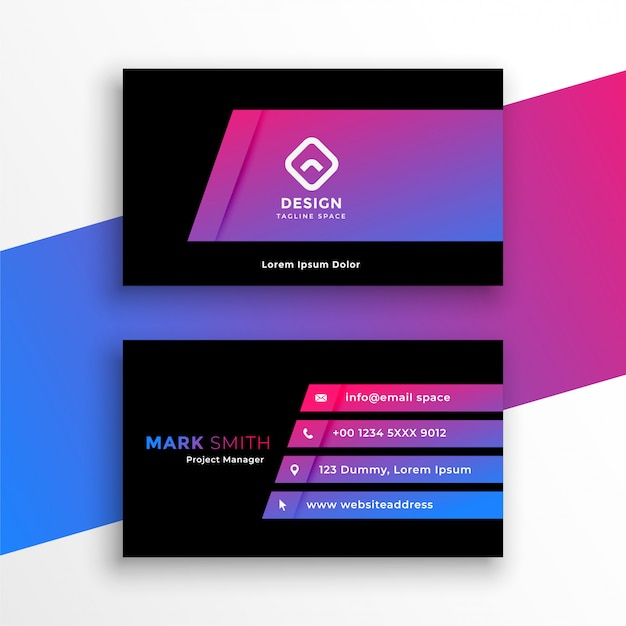 Stylish vibrant purple business card template design Free Vector