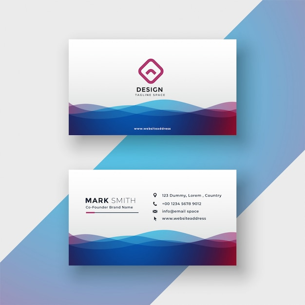Stylish vibrant wavy business card design Free Vector