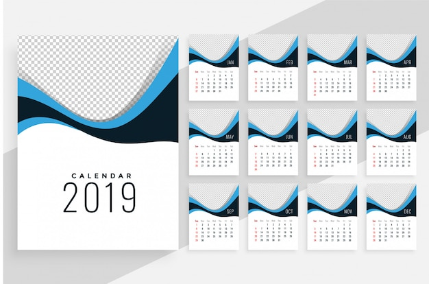 Stylish wavy 2019 calendar design Free Vector