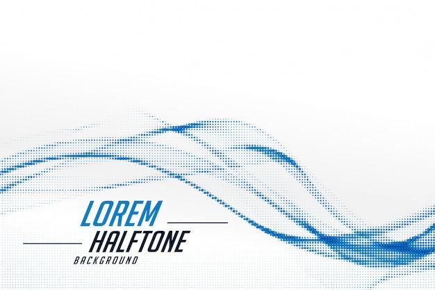 Stylish wavy blue halftone on white background design Free Vector