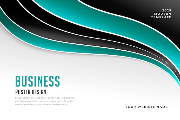 Stylish wavy business presentation template design Free Vector