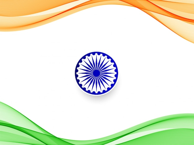 Stylish wavy indian flag  background Free Vector