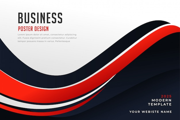 Stylish wavy red and black presentation background Free Vector
