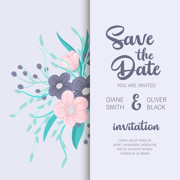 Stylish wedding frame with flowers. Premium Vector