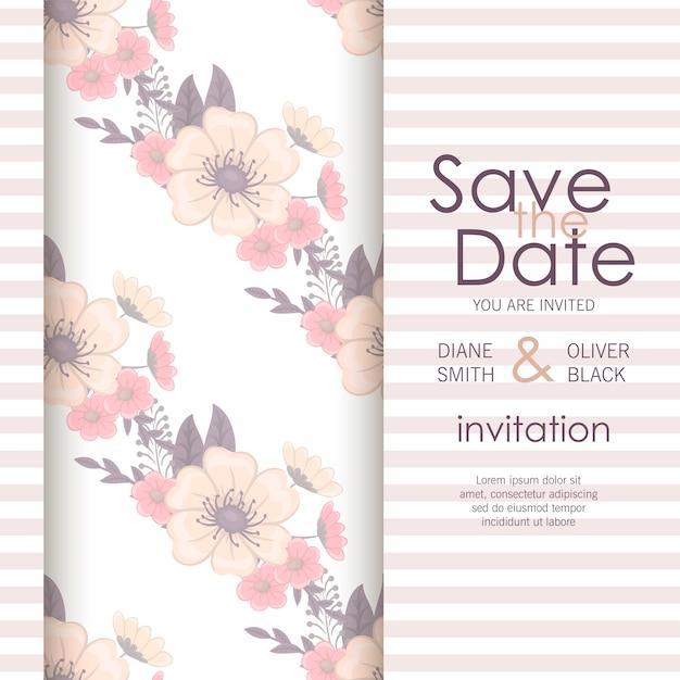 Stylish wedding frame with flowers. Premium Vector