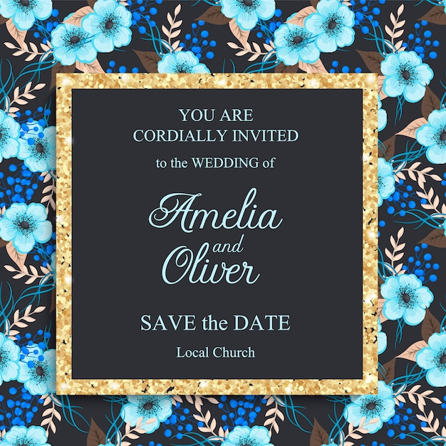 Stylish wedding frame with flowers. Free Vector