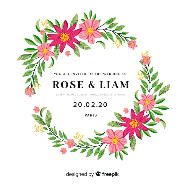 Stylish wedding invitation with floral frame Free Vector