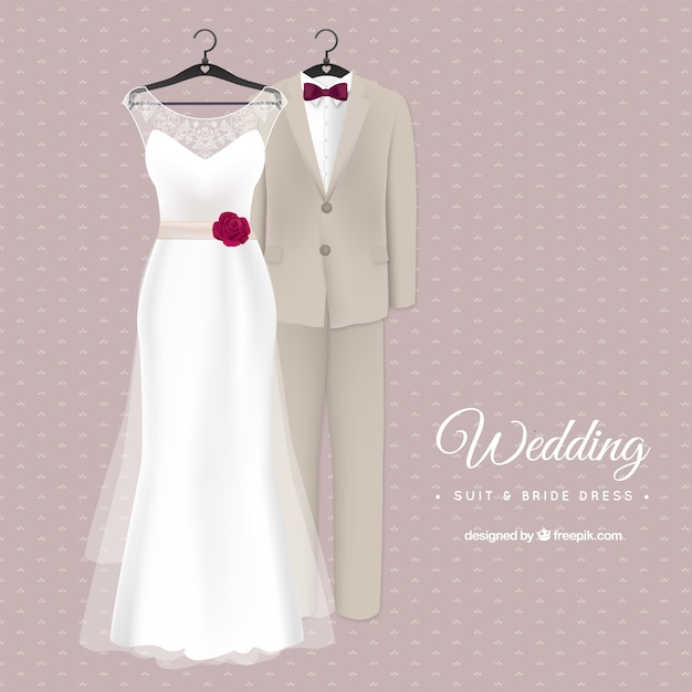 Stylish Wedding Suit And Bride Dress Vector