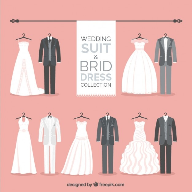 Stylish wedding suit and brid dress collection Free Vector