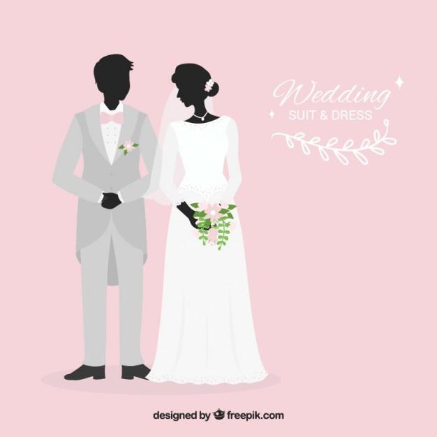 Stylish wedding suit and dress Premium Vector
