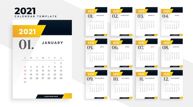 Stylish yellow 2021 new year calendar design template Free Vector