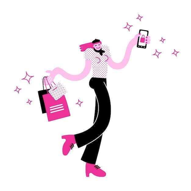スタイリッシュな若い女性の買い物袋を運ぶとオンラインショッピングアプリでスマートフォンを保持 Premiumベクター