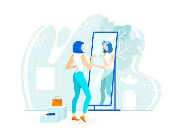 Stylish young woman checkout look reflect mirror. Premium Vector