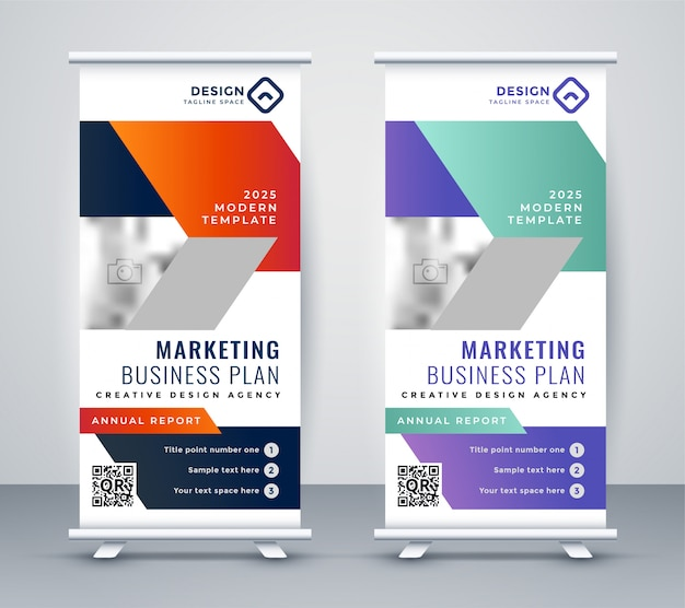 Stylisj rollup banner design in geometric style Free Vector