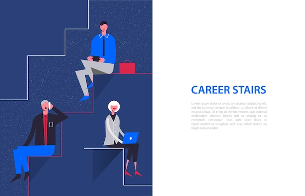 Stylized characters. business illustration. career stairs concept. businessmen and businesswoman sitting on different levels Premium Vector