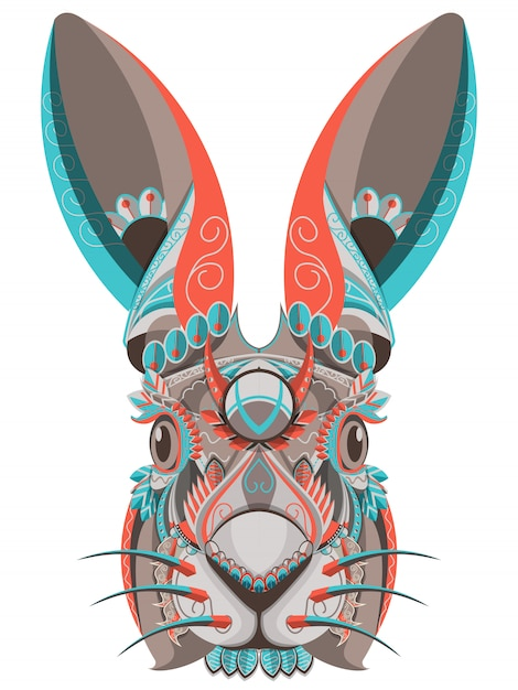 Stylized colorful bunny portrait on white background Premium Vector