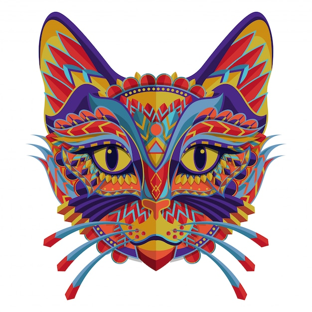 Stylized colorful cat portrait on white background Premium Vector