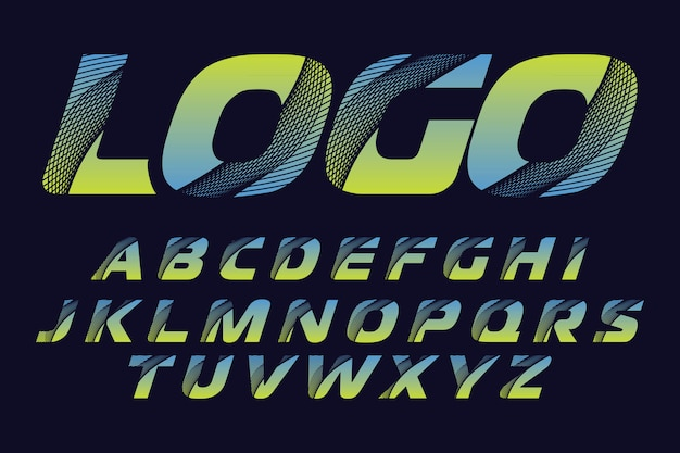 Stylized colorful font and alphabet for logo designs Premium Vector