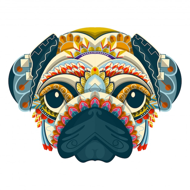 Stylized colorful pug portrait on white background Premium Vector