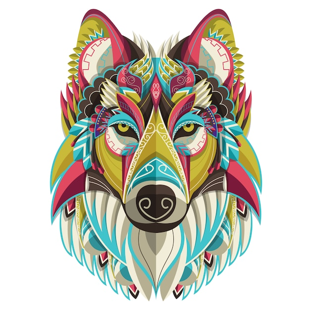 Stylized colorful wolf portrait on white background Premium Vector