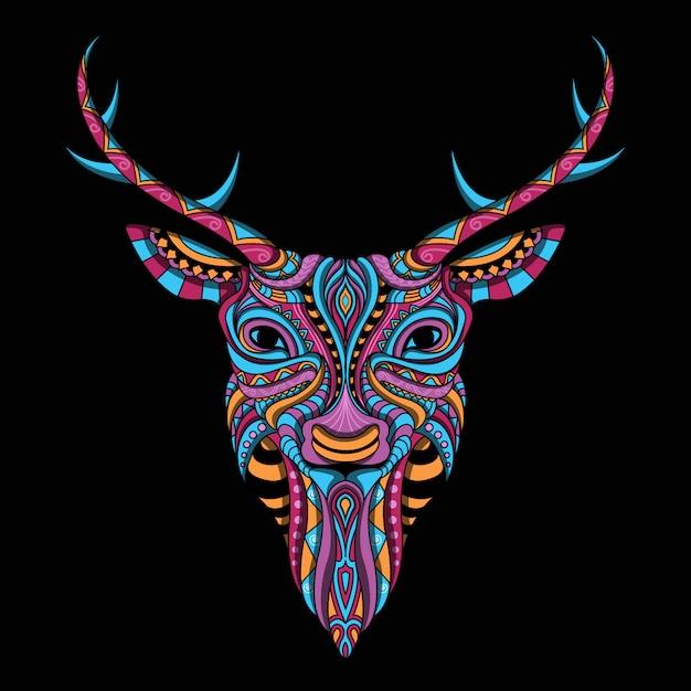 Stylized deer in ethnic style Premium Vector