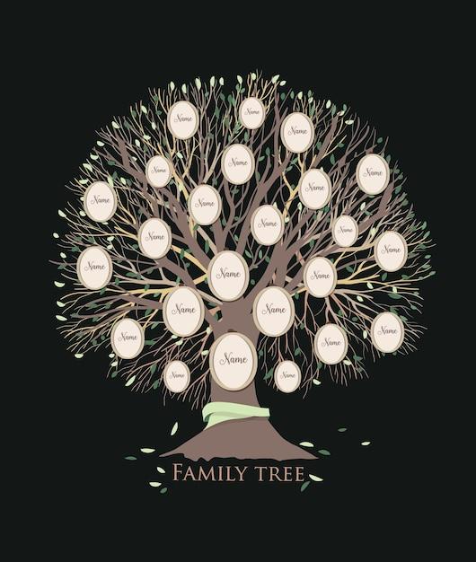 Стилизованное генеалогическое древо или шаблон родословной с ветвями и круглыми рамками для фотографий, изолированными на черном фоне Premium векторы
