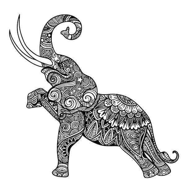 Stylized fantasy patterned elephant. Premium Vector