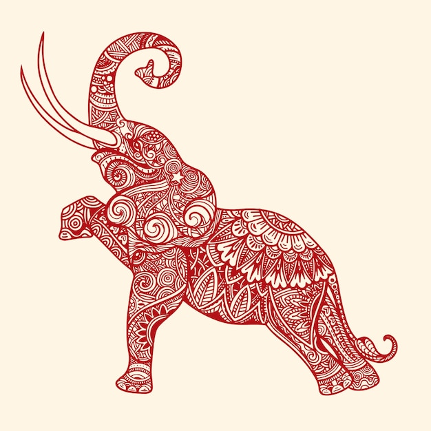 stylized fantasy patterned elephant vector premium download