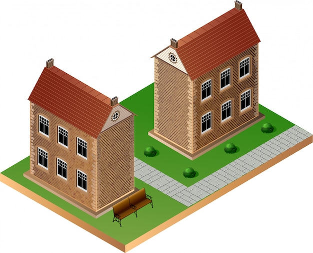 Stylized image of an old buildings Premium Vector