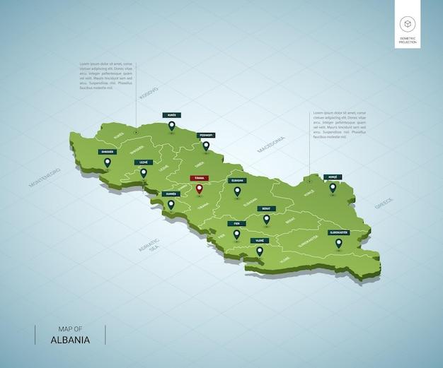 アルバニアの様式化された地図。都市、国境、首都ティラナ、地域の等尺性3dグリーンマップ。 Premiumベクター