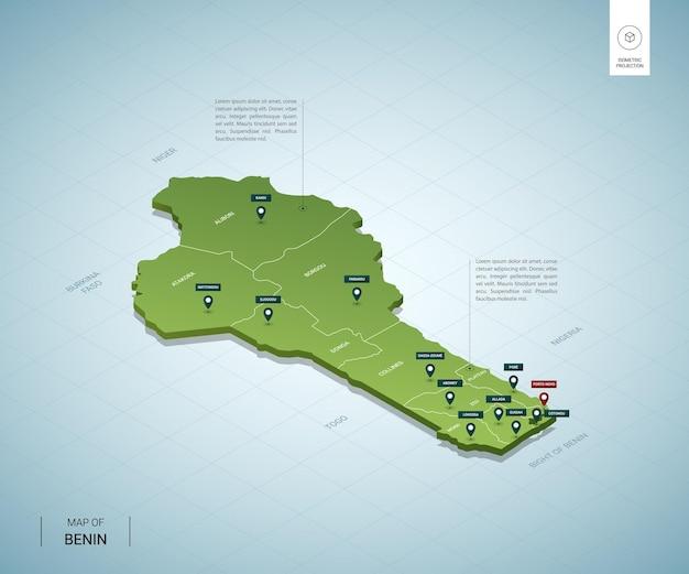 Стилизованная карта бенина. изометрическая трехмерная зеленая карта с городами, границами, столицей порто-ново, регионами. Premium векторы