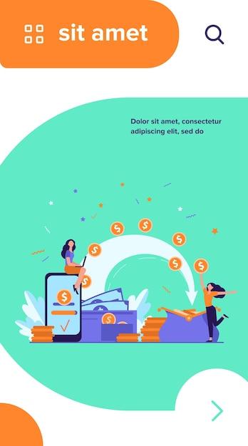 支払いを送信し、お金を受け取る様式化された人々は、フラットなベクトル図を分離しました。財布とコインで漫画の小さな女性 無料ベクター