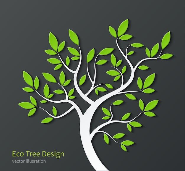 Стилизованное дерево с ветвями и зелеными листьями, изолированными на темном фоне. Premium векторы
