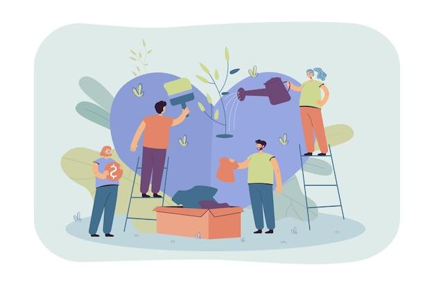 Стилизованная команда волонтеров, заботящаяся и разделяющая надежду, изолировала плоскую иллюстрацию. мультяшная группа персонажей помогает бедным людям социальной поддержкой и деньгами Бесплатные векторы