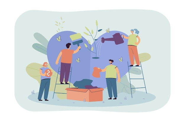 Stylized volunteer team giving care and sharing hope isolated flat illustration. cartoon group of characters helping poor people with social support and money Free Vector