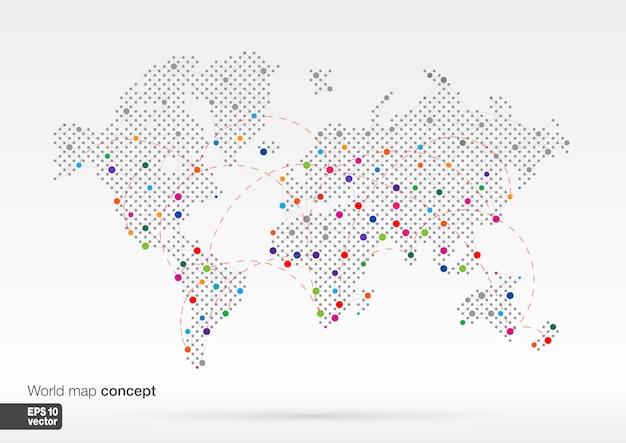 最大の都市と様式化された世界地図のコンセプト。グローブビジネス背景。カラフルなイラスト。通信、旅行、輸送、ネットワーク、ウェブ用のラインがあります。 Premiumベクター