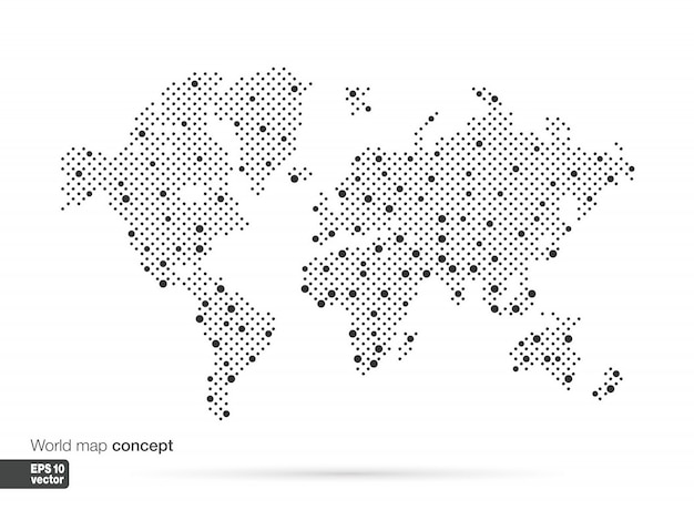 Stylized world map concept with biggest cities. globes business background.  illustration. Premium Vector
